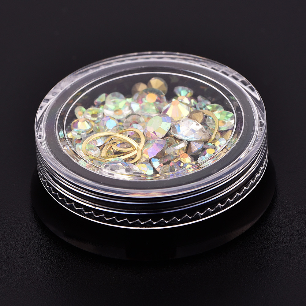 Купить с кэшбэком 1 Pot Multi Colors Mix Shapes Mix Diamond Beaded Caviar Gold Metal Frame Nail Art Rhinestones Gems Decorations Manicure DIY Tip