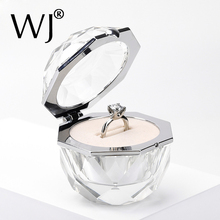 Deluxe Crystal Diamond Ring Box Acrylic Jewelry Gift Wedding Keepsake Proposal Engagement Bride Couple Rings Display Holder Case