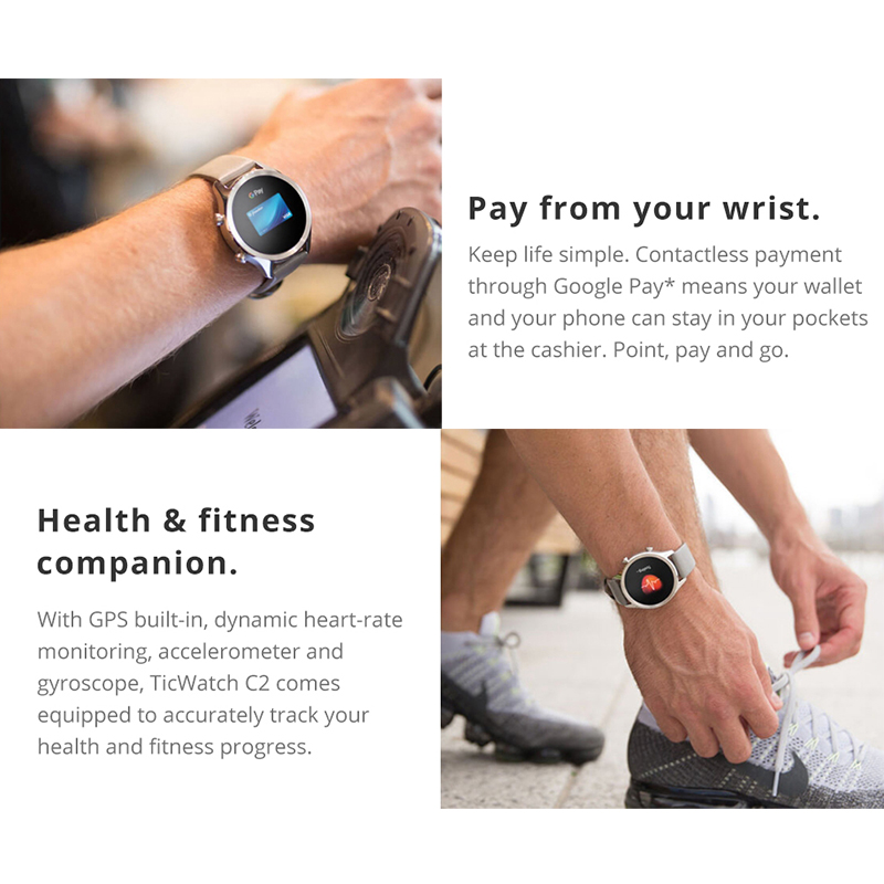 Original Ticwatch C2 Smartwatch Wear OS por Google incorporado GPS Monitor de ritmo cardíaco rastreador de Fitness Google pagar gratis regalo-Correa - 5