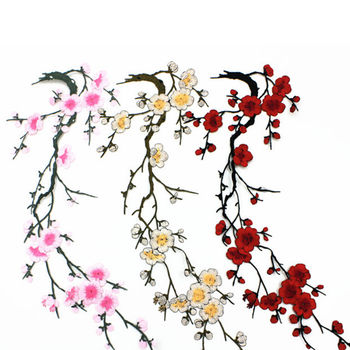 1 sztuk kwiat śliwy kwiat aplikacja haftowana naszywka na ubrania naklejka materiałowa żelazko na szyć na łacie Craft szycia naprawy haftowane tanie i dobre opinie PlumHOME CN (pochodzenie) Size 38cm x 12cm 15 0 x 4 7 HANDMADE Przyjazne dla środowiska Plum blossom Patch