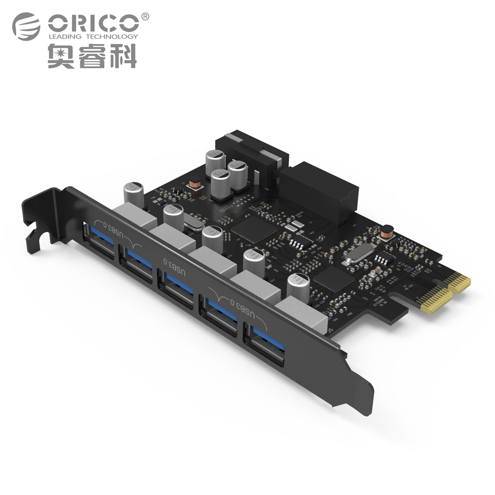 все цены на  ORICO Desktop 5 Port USB3.0 PCI Express Card for Laptop Support Windows 10 / 8 / 7 / Vista / XP Including 4-pin Power Cord  онлайн