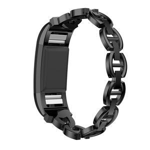 Image 1 - HIPERDEAL 2018 Luxo Cristal Pulseira De Metal Em Aço Inoxidável Strap Band Para Fitbit Carga 2 Dropshipping Julho 17