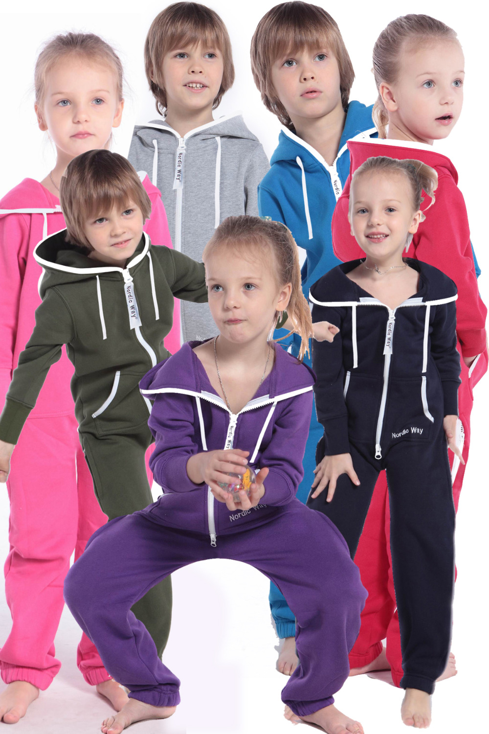 Nordic Way Kid One Piece Jumpsuit Unisex Romper All In Hoodie Fleece Adult Playsuit