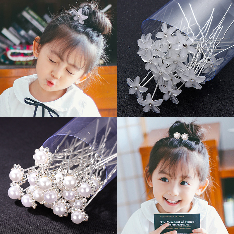 Hot Sale 20PCS Box Cute Girls Flower Crystal Pearl Hair Sitcks Princess Hair Style Make Headbands   Headwear   Kids Hair Accessories