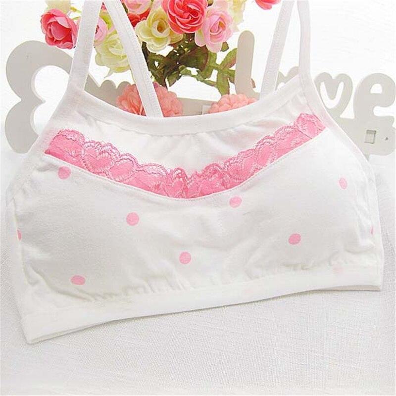 Cotton Lace Puberty Teens Girls Bra Sports Underwear For Teenager White Print Girl Training Bra Children Kids Underwear Clothing