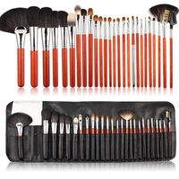 professianal animal hair big fan brush 26pcs makeup brushes tools cosmetic brushes kits with black pu bag