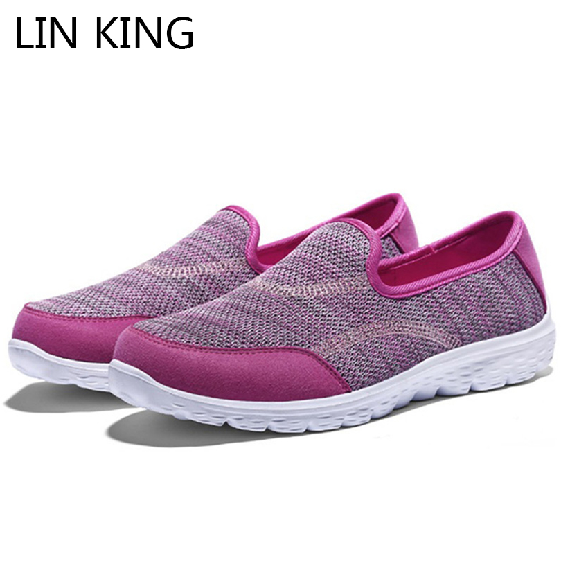 LIN KING/Мода Mixcolor сетки воздуха Женская обувь на плоской подошве вязать слипоны тонкие туфли удобные легкие Вес Мокасины без шнурков плюс Разм...
