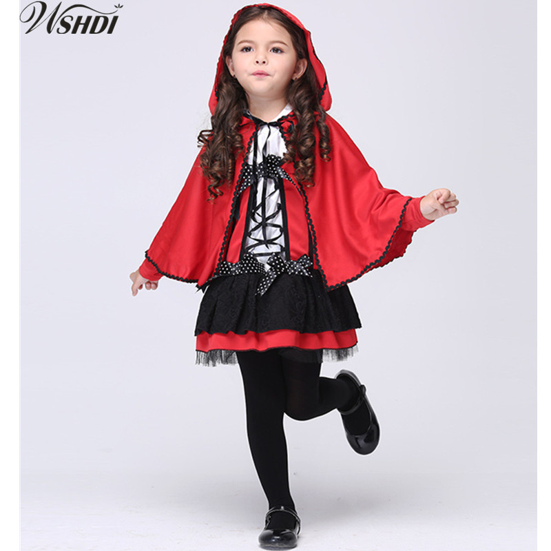 95-135cm Halloween Kids Cute Fancy Dress Little Red Riding Hood Costume