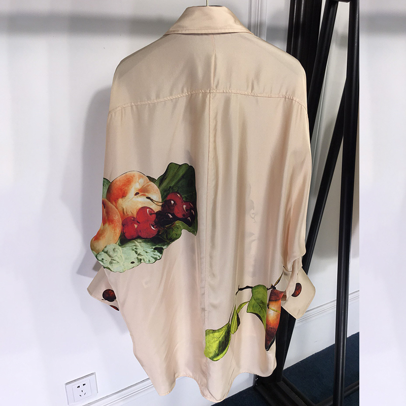Giro Vintage Mujeres abajo Larga De Impresión Para Casual Pics Blusa Oficina Collar Camisas Mujer Europeo Las As Seda Blusas RpfxqgwR6r