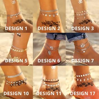 17KM Multiple Vintage Bohemian Ankle Bracelet Cheville Barefoot Sandals Pulseras Tobilleras Foot Jewelry 5