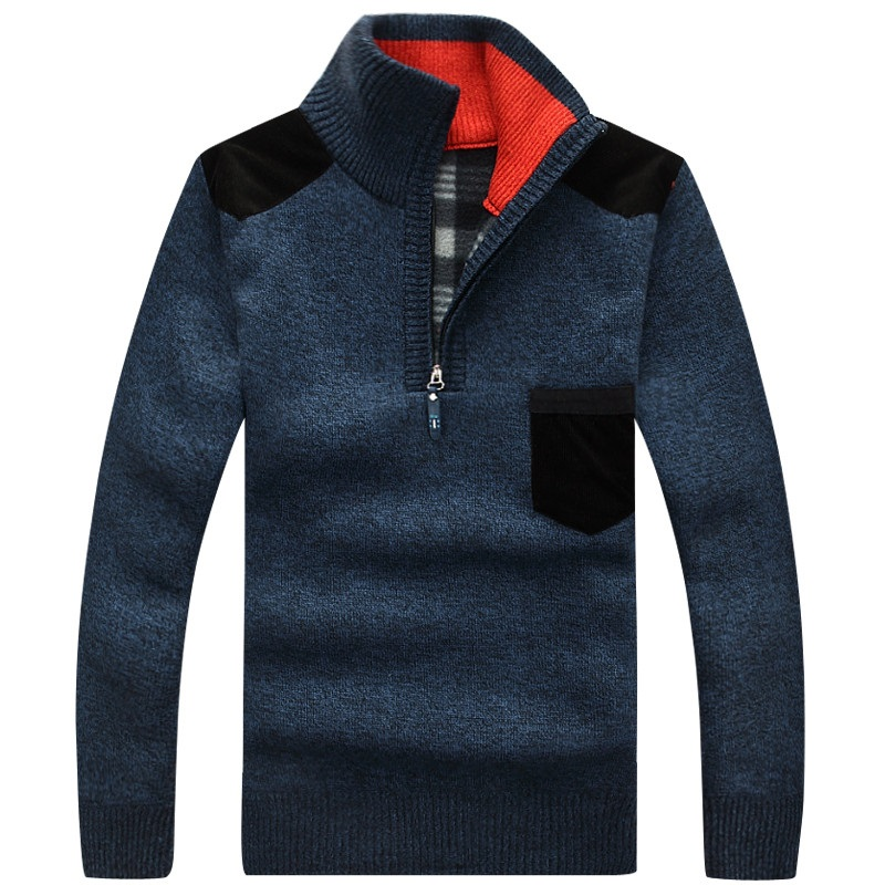 Autumn Winter Men's Sweaters Mens Stand Collar Half Zipper Thick Warm Pullover Casual Cashmere Wool Fleece Knitwear Tops 3XL