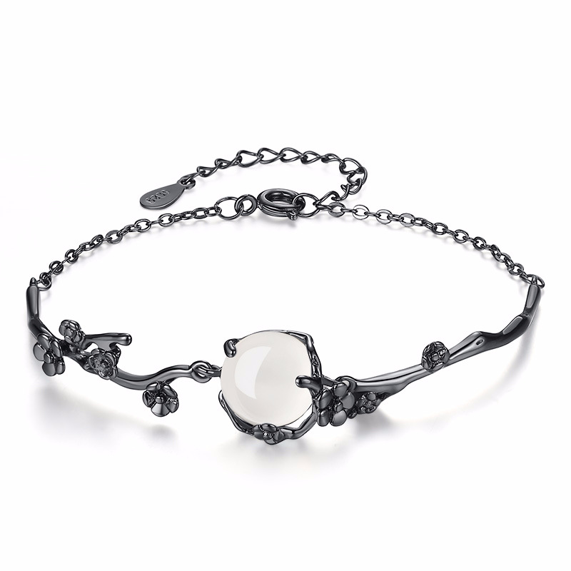 Metal Sign Gooseneck Light Granite Silver: Classical Plum Blossom Charms Bracelets Setting Natural