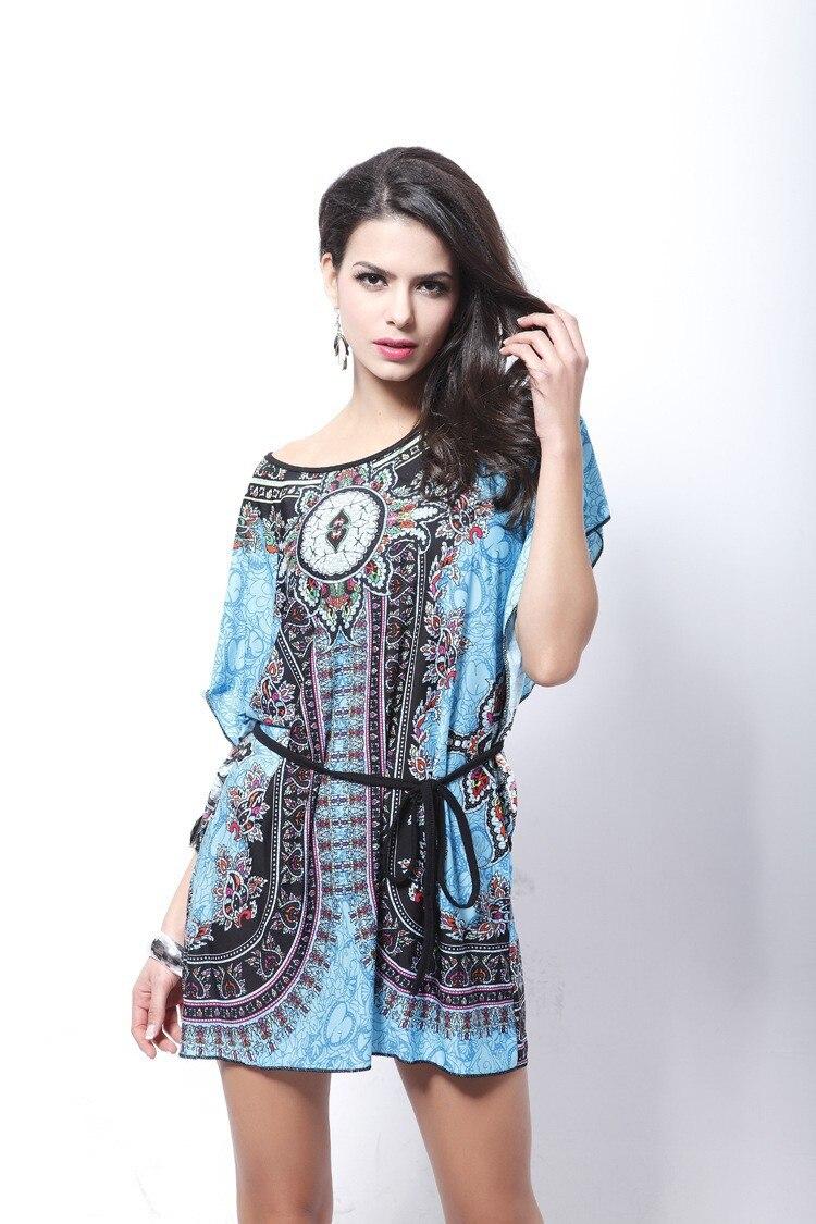 Vintage Dress 2017 New Summer Style Retro Print Boho Loose Casual Dress Bohemian Tunic Beach Dress Vestidos Plus Size Dress 13