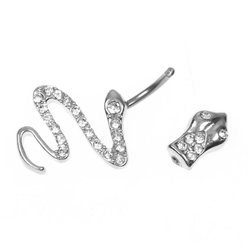 Earnest Sexy Women Rhinestone Silver Snake Navel Nail Piercing Belly Ring Body Stainless Steel Prevent Allergy Hot Sale Jewelry Home