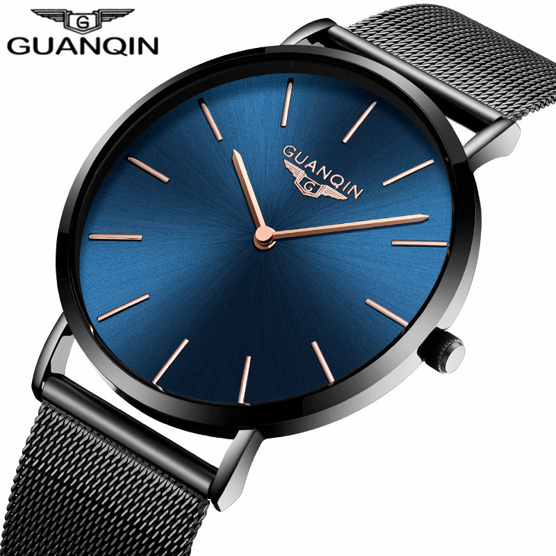 Ultra Thin Men Watches 2017 Luxury Brand GUANQIN Simple Quartz Watch Stainless Steel Mesh Band Waterproof Watch relojes hombre цена 2017