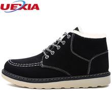 Uexia модная теплая зимняя обувь Для мужчин качественные модные ботинки Для мужчин с Мех животных Для мужчин S Высокое качество замши Военная Униформа Мех животных ry ботильоны