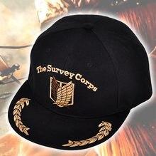 Ataque en Titán la encuesta Corps Cosplay bordado negro sombrero ourdoors  SnapBack gorra de béisbol 21677f97113