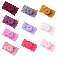 New Baby Girls Hair Accessories Super Soft Nylon Band Knotted Ball Donuts Children Solid Color Headband