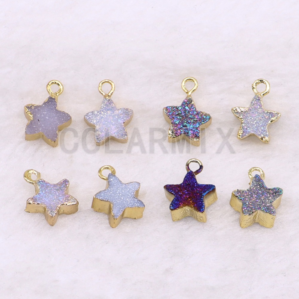 Wholesale 8 piece stone jewelry Tiny star shape stone pendant Dyed geode stone pendant fashion druzy stone jewelry Gift <font><b>3601</b></font> image
