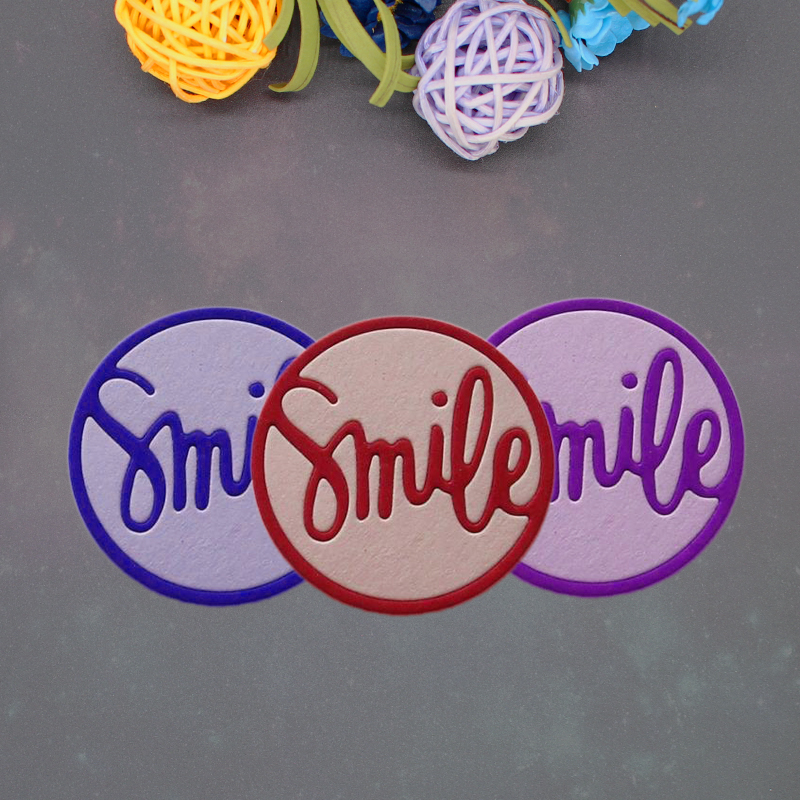 38 38mm Word Smile in the Circle Metal Cutting Dies New Stencils for DIY Scrapbooking Paper Cards Craft Making Craft Decoration in Cutting Dies from Home Garden