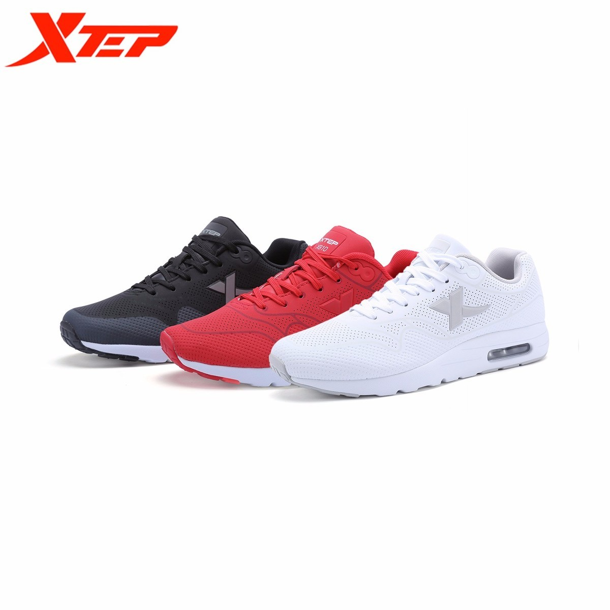 XTEP Brand Professional Running Shoes for breathable Women Athletic Light Leather Sport White Red Black Genuine On Sale Sneakers new hot sale children shoes pu leather comfortable breathable running shoes kids led luminous sneakers girls white black pink