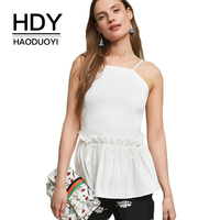 HDY Haoduoyi Brand Women Solid White Casual Sexy Tanks Sleeveless Ruffles Female Backless Zipper Back Tops