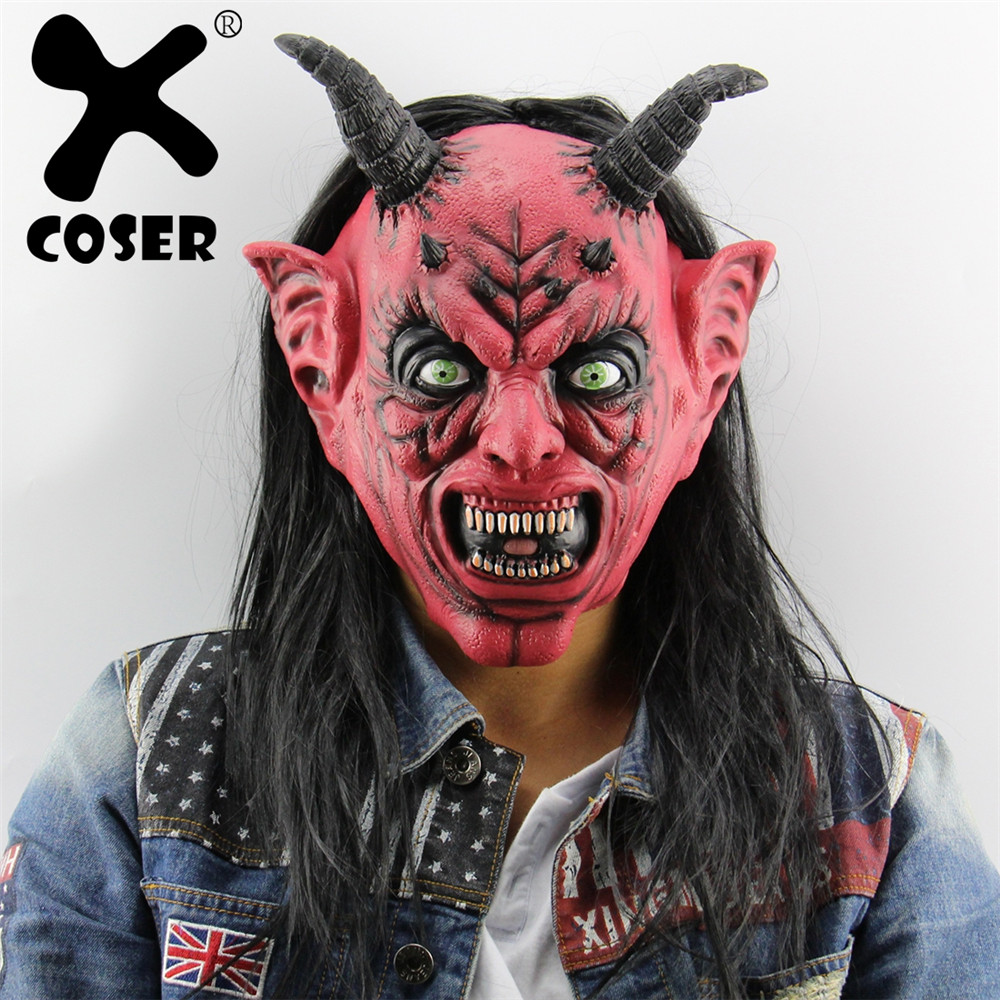 XCOSER Clearance Sale Devil Inferno Satan Mask Horror Novelty Red Face Head Long Hair Cosplay Masks For Halloween Carnival Party