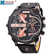 Xinew 2017 moda de alta calidad reloj de los hombres de moda de cuero reloj de lujo fecha de cuarzo analógico relojes deportivos jan17
