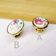 Овальной формы, керамические Цинковый сплав золотого цвета Современные ручки шкафа ручки ящика тянет тюльпан цветок печати