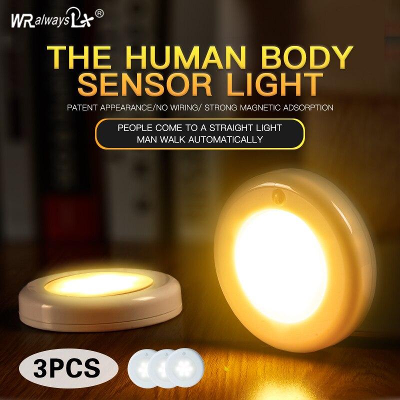 wralwsyslx 1W LED 3PCS PIR motion sensor LED cabinet light with magne