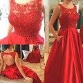 Rojo Sin Mangas Vestidos de Baile 2017 Sexy Scoop Cuello Espalda Abierta de la Nueva Llegada de Las Mujeres Vestidos de Noche Vestidos de Fiesta W1702081