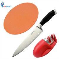 Upspirit 3pcs Kitchen Combo Set 8 Stainless Steel Kitchen Knife Ceramic 2 Stage Knife Sharpener Plastic