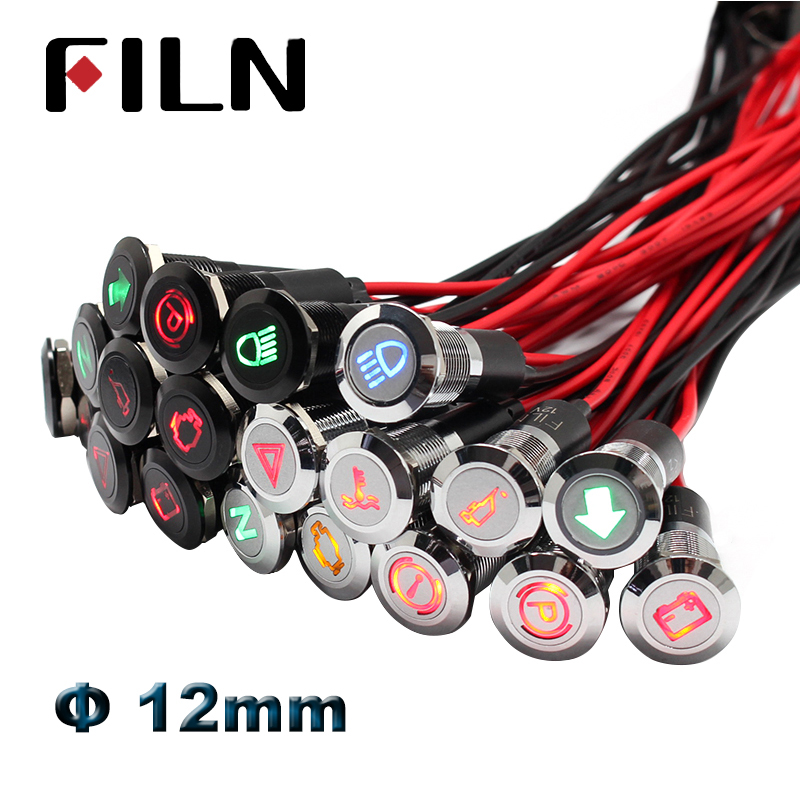 12mm Dashboard Warning Symbol Led Indicator Light Pilot Lamp 12v 24v Led Red Green Blue Panel Mounted Pilot Lamp