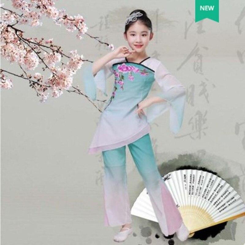 Green Chinese Folk Dance Costumes Yangko Silk Fan Dance Costumes For Children Kindergarten Performance Clothing