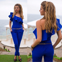 2016 New Arrival Sexy Lady Women Evening Party One-Shoulder Jumpsuit Romper Long Pants