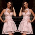 Elegant Short Pink Cocktail Dresses 2017 Halter  Neck Lace Appliques Backless Prom Party Dress Sleeveless Vestido de festa curto