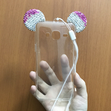 Luxury Bling Glitter Mickey Minne Mouse Soft Case For Samsung Galaxy J3 J300F J300 J3000 Capa Phone Transparent Clear TPU Cover