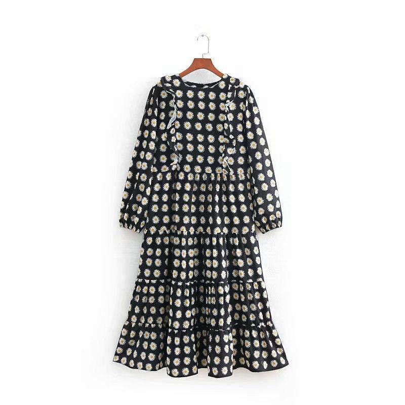 New Spring Dresses 2019 Women Floral Pattern Ruffle Long Sleeve Mid-Calf Dress Vestidos Feminino