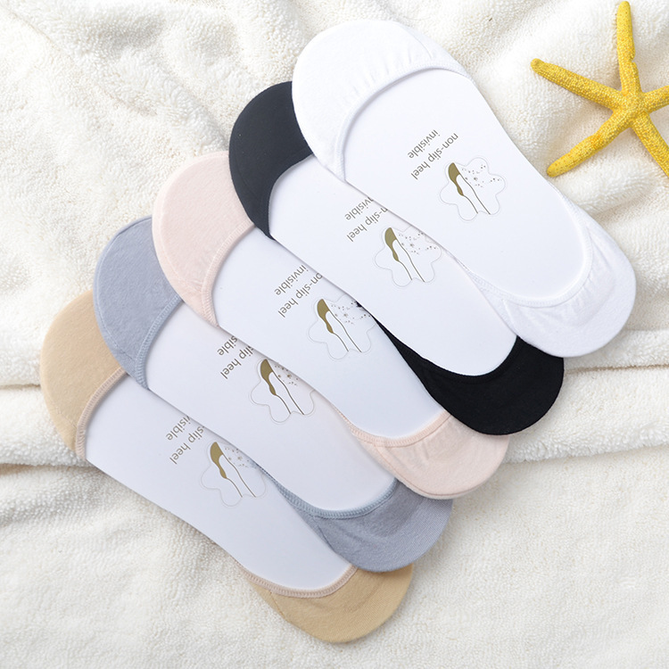 5Colors Female Invisible Short Woman Sweat Comfortable Cotton Blends Socks Girls Women's Boat Socks Ankle Non-slip 1pair=2pcs