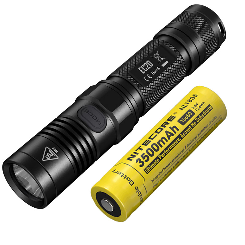 LED Flashlight NITECORE EC20 CREE XM-L2 U2 LED max.960 lumen beam distance 222 meter outdoor torch + 18650 3500mAh battery flashlight nitecore ec20 cree xm l2 u2 led max 960 lumen beam distance 222 meter torch 18650 3500mah battery new i2 charger