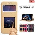 Mi4 m4 case ventana de visualización pu cubierta del tirón del cuero case para xiaomi mi 4 cajas del teléfono funda protectora para xiaomi mi4 m4