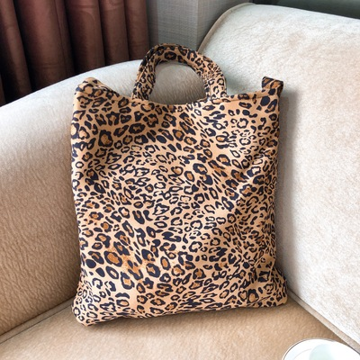 Canvas Tote Handmade Canvas Shopping School Books Trip Bag Shoulder Bag Shopping Bags Purse Pouch Large Leopard Grain