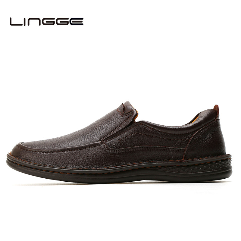 LINGGE Brand New Men's Casual Shoes, Genuine Leather Men loafers, Slip On Men Oxfords Business Formal Shoes For Men #6068-1 goodster new men s business casual shoes genuine leather flat low men single shoes slip on shoes men