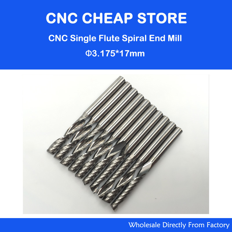 Free Shipping 10 Pcs Carbide Endmill Single Flute Spiral CNC Router Bits 3.175 X 17mm