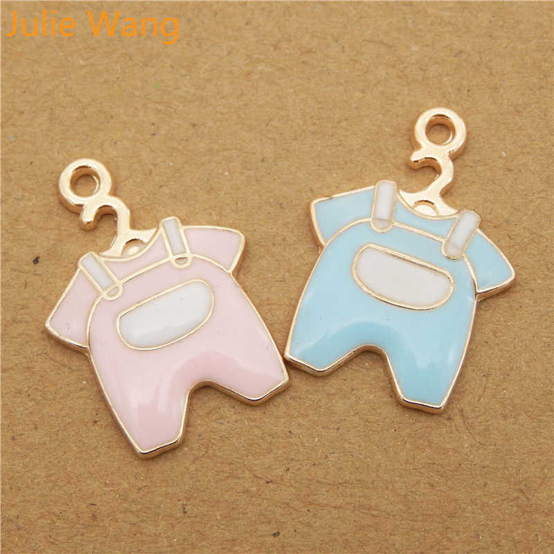 Julie Wang 6PCS Baby Cloth Charms Enamel Mixed Pink Blue Gold Tone Pendant For Necklace Bracelet DIY Jewelry Making Findings(China)