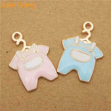 Julie Wang 6PCS Baby Cloth Charms Enamel Mixed Pink Blue Gold Tone Pendant For Necklace Bracelet DIY Jewelry Making Findings