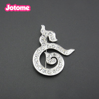 Wholesale customzied Rhinestone crystal/enamel silver plated Tai Thailand King Mourning Jewelry brooch pin