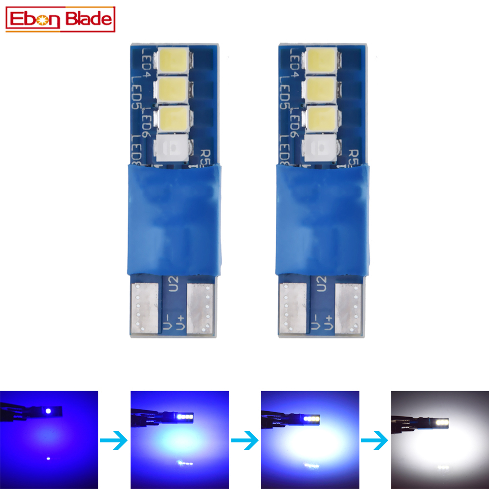 Pair <font><b>T10</b></font> 5W5 <font><b>LED</b></font> Car Bulb Change Color <font><b>Blue</b></font> To White W5W 194 168 Interior Dome Map Reading Light 3030 8SMD Auto Styling 12V Lamp image