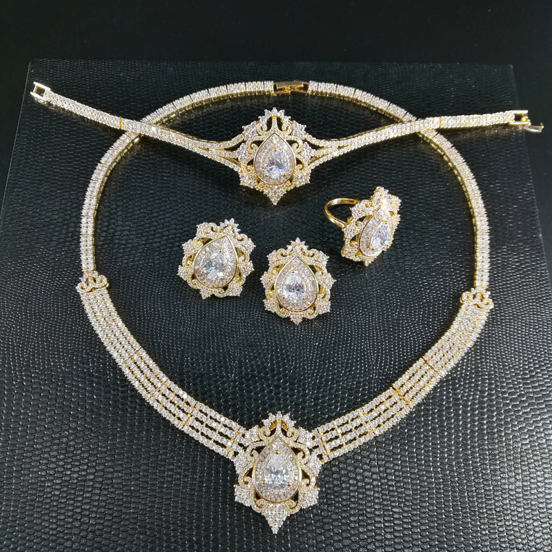 все цены на NEW FASHION Retro luxury zircon golden necklace earring bracelet ring wedding bride banquet formal dress jewelry set free ship!