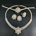 NEW FASHION Retro luxury zircon golden necklace earring bracelet ring wedding bride banquet formal dress jewelry set free ship!